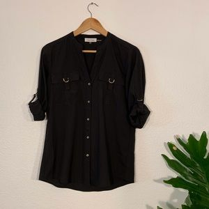 Calvin Klein black button up with roll sleeves